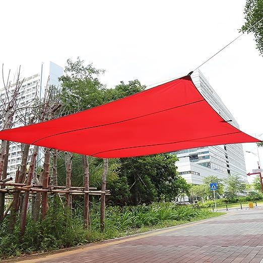 Yosoo Toldo de Vela de Sombra Rectangular para Jardín, Terraza, Calle y Exteriores Resistente al Agua con Proteción UV, Bolsa de Transporte y Juego de Cuerdas Tensores (3×4M, Rojo): Amazon.es: Jardín