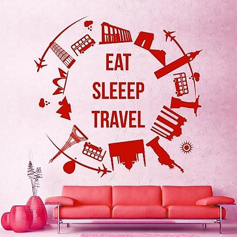 Quote Eat Sleep Travel Wall Decals World Landmarks Vinyl Stickers ...