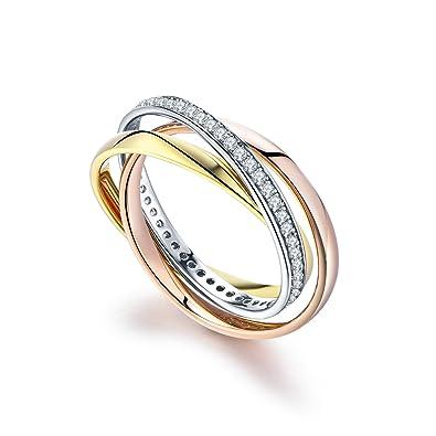 85628ce3d3bc4 YL Damen Ring 3 Farbe Gold Rosegold und Rhodiniert 925 Sterling Silber mit  zirkonia verzahnt 3 Stück Ring  Amazon.de  Schmuck