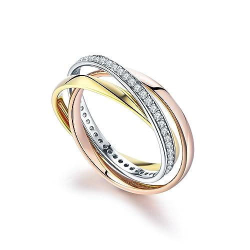 nuovo concetto ampia selezione di design intera collezione YL Anello donna 3 pezzi Intrecciato Wickelring Argento 925 / Oro 18k / Oro  rosa/Placcato oro bianco Anello di fidanzamento per le donne
