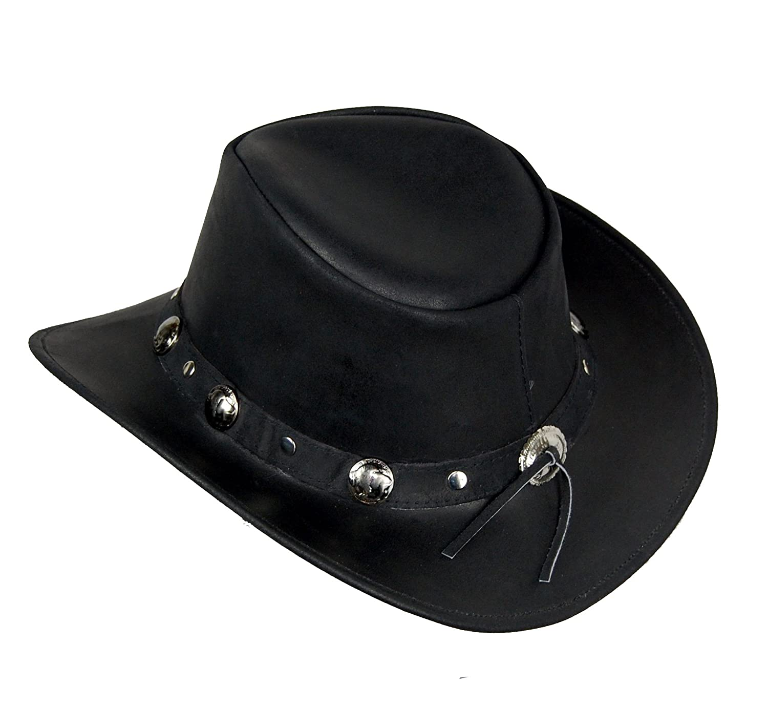 Cowboy Western Style Leather Hat Black Quality Leather Hat