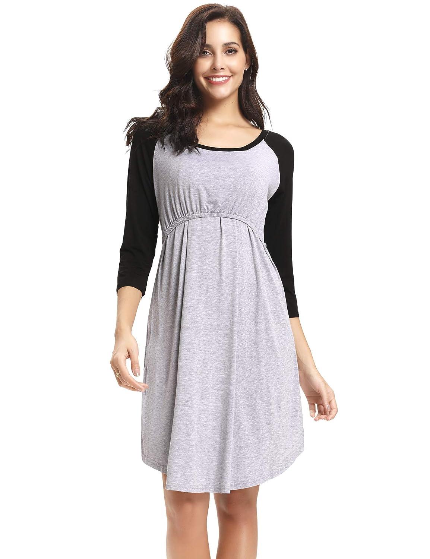 0b8382c10c48a Aibrou Womens Maternity Dress Nursing Nightgown for Breastfeeding  Nightshirt Sleepwear S-XXL at Amazon Women's Clothing store:
