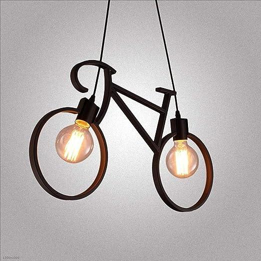 AXWT Retro Creativo Araña de Hierro Arte Bicicleta Luces Colgantes ...