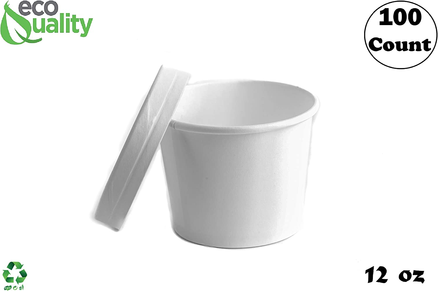 12 oz Disposable White Paper Soup Containers [100 Count] - Half Pint Ice Cream Containers, Frozen Yogurt Cups, Restaurant, Microwavable, Take Out, to Go Deli Containers, Recyclable