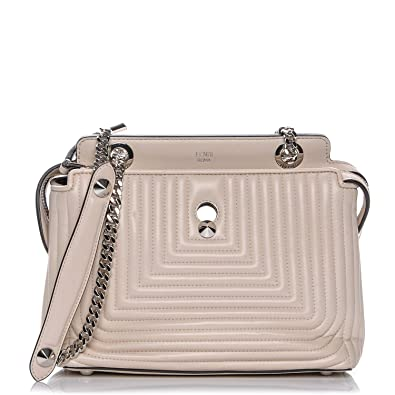 572e32787ab6 Amazon.com  Fendi Dotcom Click Beige Caramel Small Quilted Lambskin Leather  Chain Satchel Bag Silver Hardware 8BN299  Shoes