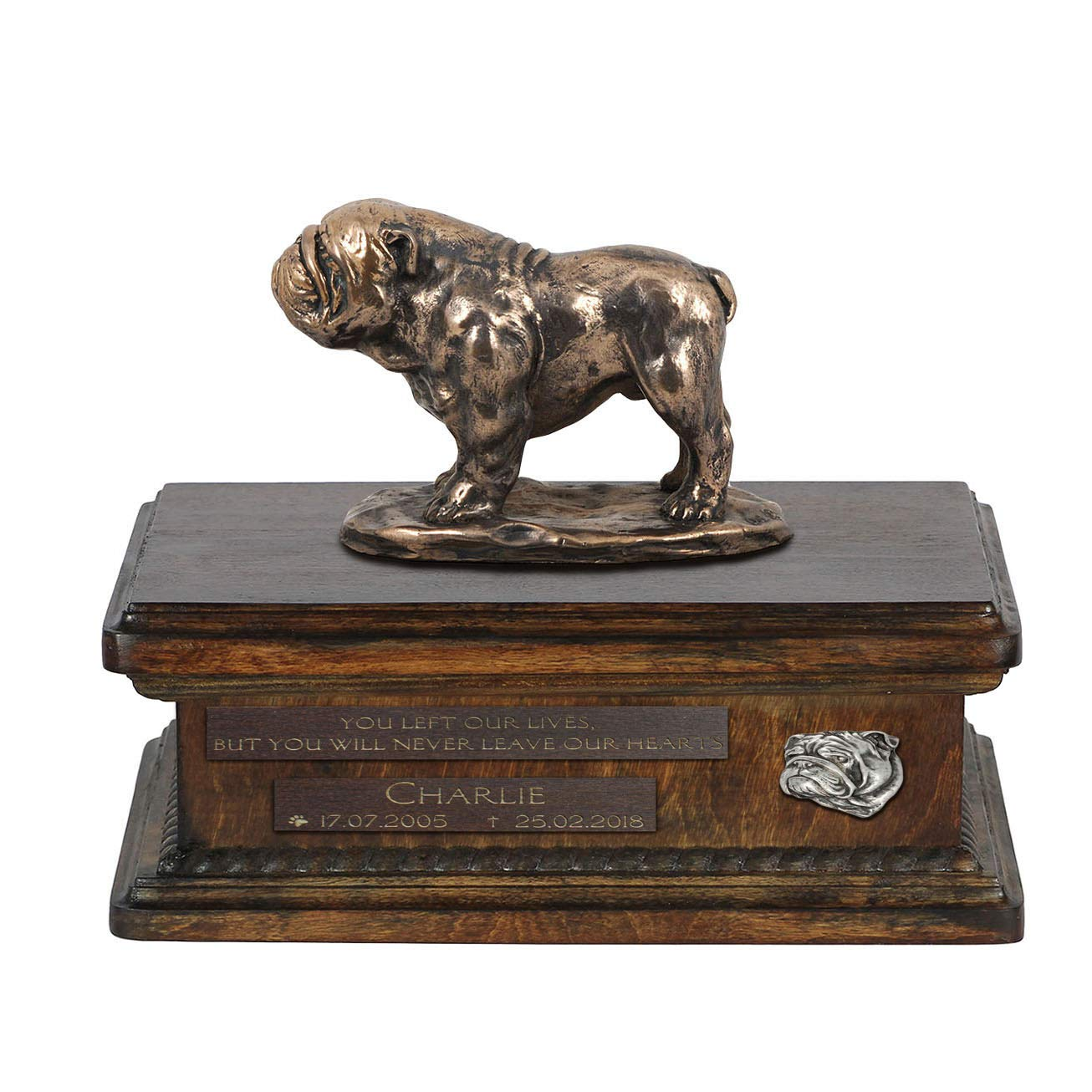 Bulldog 2, Urn for Dog Ashes Memorial with Statue, Pet's Name and Quote ArtDog Personalized