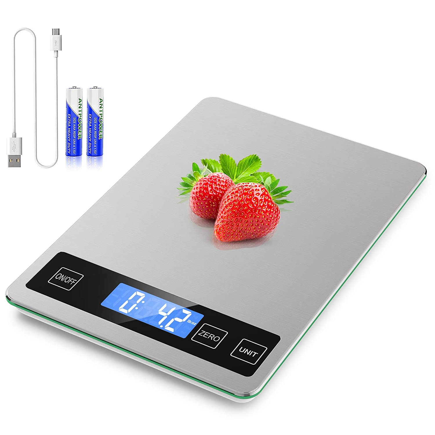 Food Scale with USB Rechargeable, 11lb Digital Kitchen Scale Weight Grams and oz for Baking Cooking, Stainless Steel and Tempered Glass Waterproof Body, 1g/0.1oz Precise Graduation, Batteries Included