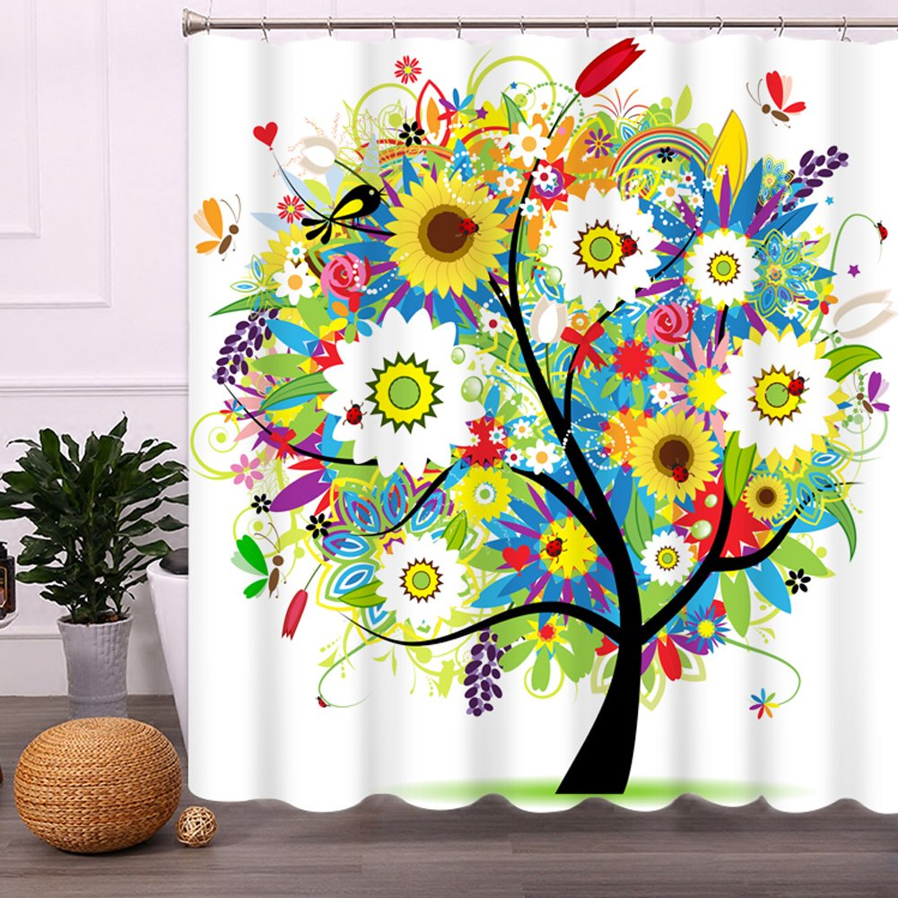 Amazon.com: Colorful Tree Shower Curtain with Hooks, Malicosmile Non ...