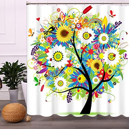 malicosmile colorful bathroom shower curtains tree premium polyester mildew resistant non toxic non - Colorful Shower Curtains