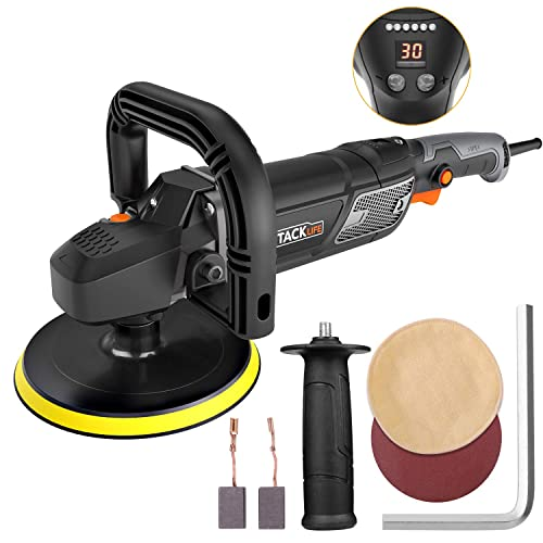 Polisher,Tacklife 7-Inch 12.5Amp 1500W Variable Speed Polisher,With Digital Screen, Lock Switch, Detachable Handle, Ideal For Car Sanding, Polishing, Waxing, Sealing Glaze – PPGJ01A
