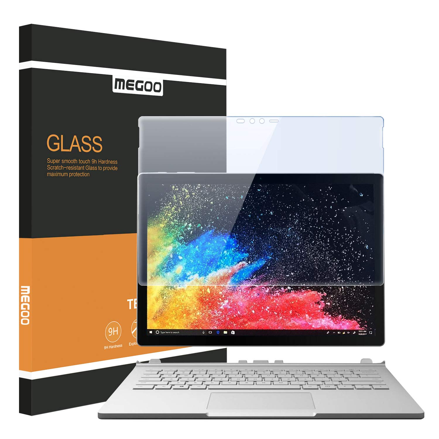 Megoo Surface Book Screen Protector, [Tempered Glass ] Anti-Scratch,Explosion-Proof, Protector for Microsoft Surface Book-13.5 Inch