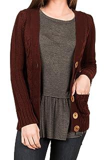 b10d2c3a05 Viottis Women s Open Front Cable Knit Cardigan Button Down Sweater Coat
