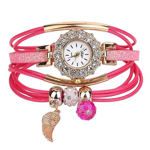 Pulsera del Reloj, K-youth® Retro Doradas Alas Colgante Cuarzo Reloj de Pulsera Mujeres Accesorios de Moda Encanto Alrededor de Trenzado Relojes de mujer ...