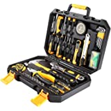 DEKO 100 Piece Tool Set General Household Hand Tool Kit with Rip Claw Hammer,Adjustable Wrench & Plastic Toolbox Storage Case