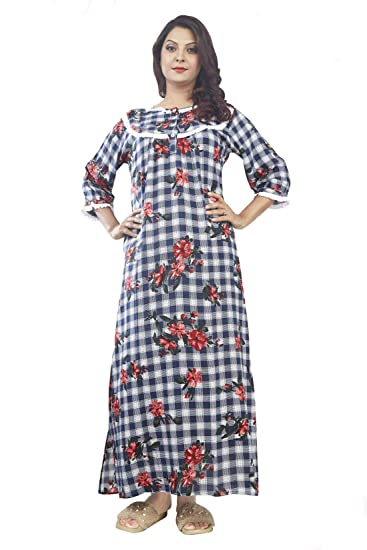 08d52a810b IMJI Blue Floral Check Long Nighty with 3/4 Sleeves Ruffls for Woman (Small