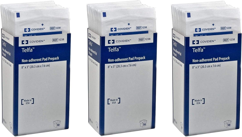 Pack of 50 8 x 3 Sеt оf Тhrее Covidien 1238 Telfa Non-Adherent Pads Prepack