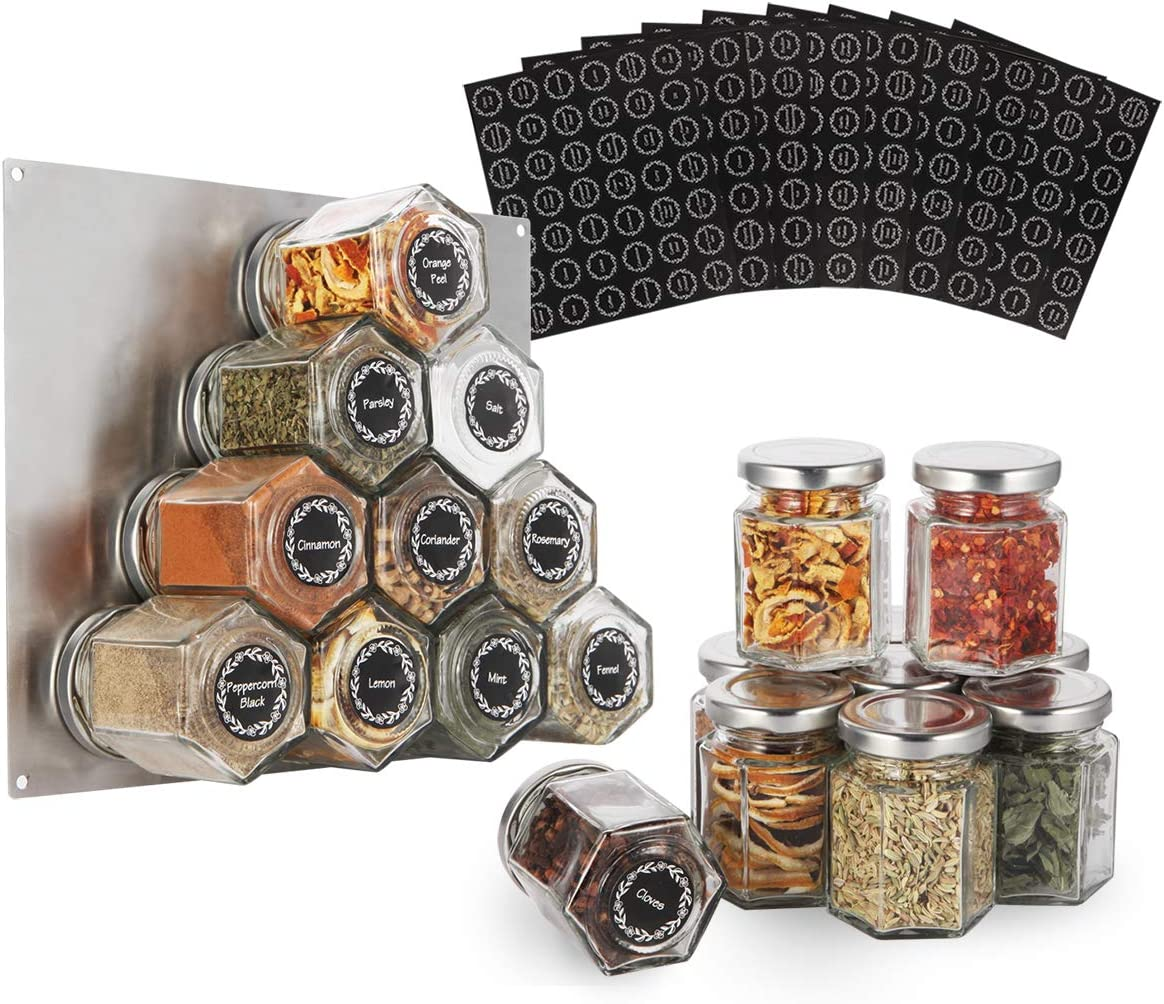 16-Pack Glass Hexagon Magnetic Spice Jar - Stainless Plate Included