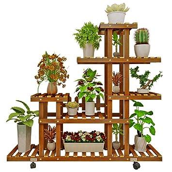Soporte de madera para plantas Flores estantería Macetas de plantas,Ruedas Multi-capa Flores escaleras Estante del almacenaje Multifuncional Para interior ...