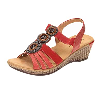 2be7898c8e0d Dunlop Wedge Heel Slingback Cushioned Sandals  Amazon.co.uk  Shoes ...