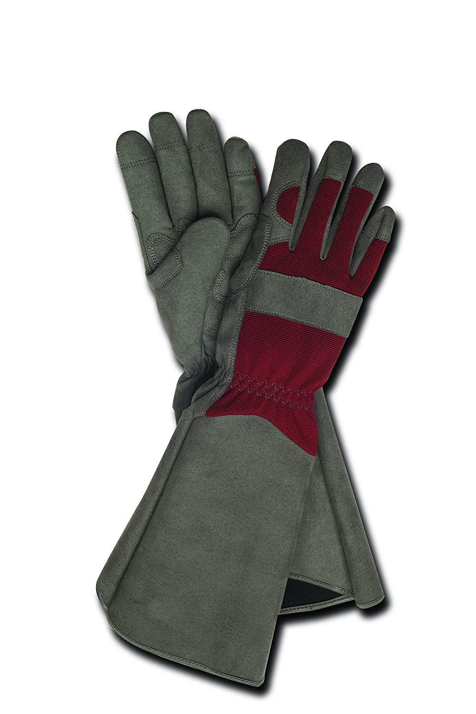 Magid Glove & Safety TE195T-AMZN Rose Glove, Women's Medium, Grey & Maroon