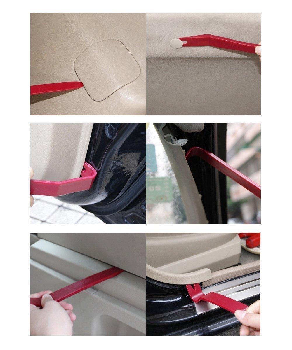 KINGLAKE Panel Removal Tool - 13 Pcs Auto Trim Upholstery Removal Kit Door Trim Molding Dash Panel Car Radio Door Clip Panel Auto Body Repair Window Molding Tools Fastener Remover +Bag