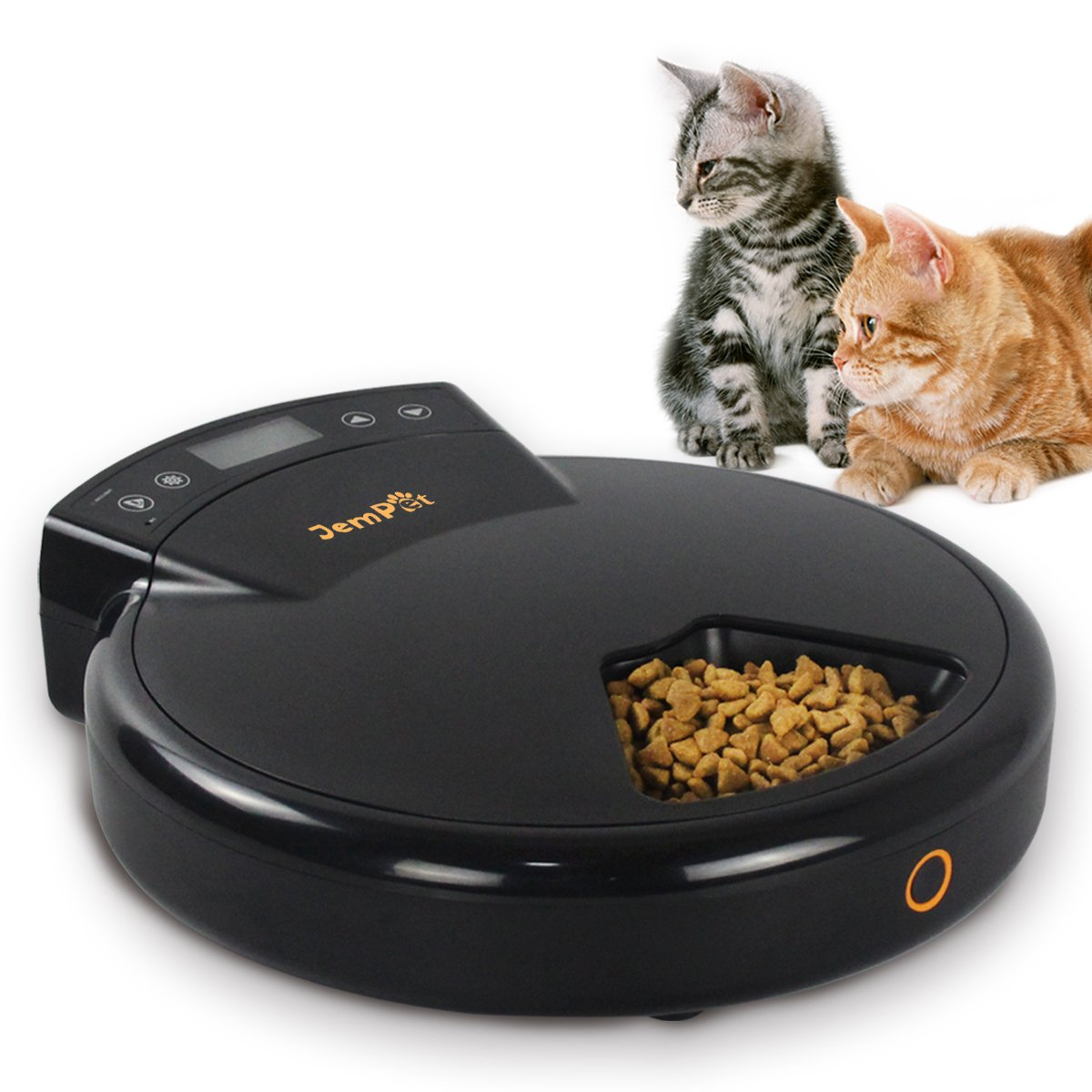 JEMPET Automatic Cat/Dog Feeder, 5 Meal Trays for Dry and Wet Food, Auto Pet Food Dispenser with Voice Recording and Timer