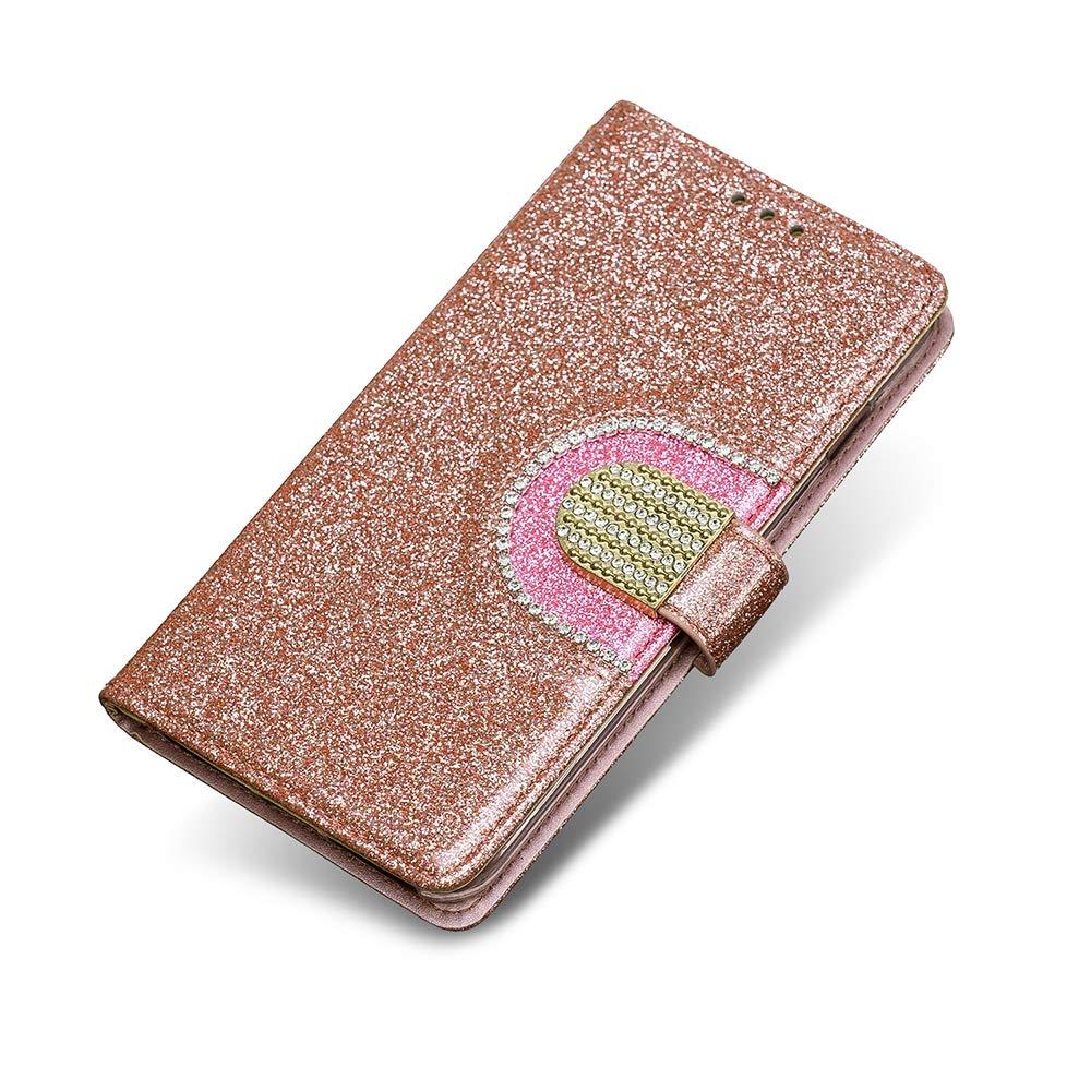 Coque Galaxy J3 2015, The Grafu® Brillante Glitter Étui en Cuir à Rabat avec emplacements pour Cartes, Prémium Portefeuille Coque pour Apple Galaxy J3 2015, Or Rose
