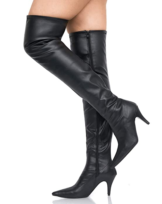 FETISH LADIES OVER THE KNEE ZIP UP THIGH HIGH PLATFORM LONG BOOTS A12051 SHOES