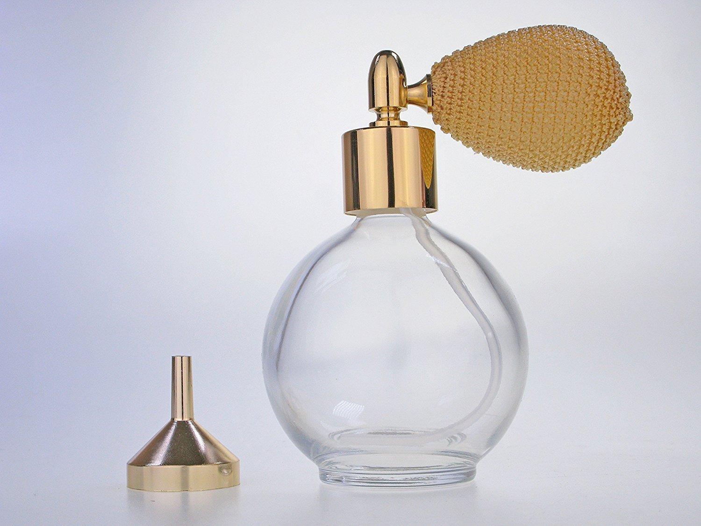 Classic cristal transparente vacío rellenable frasco de Perfume con vaporizador (78ml oro Bomba, embudo incluido (GF)