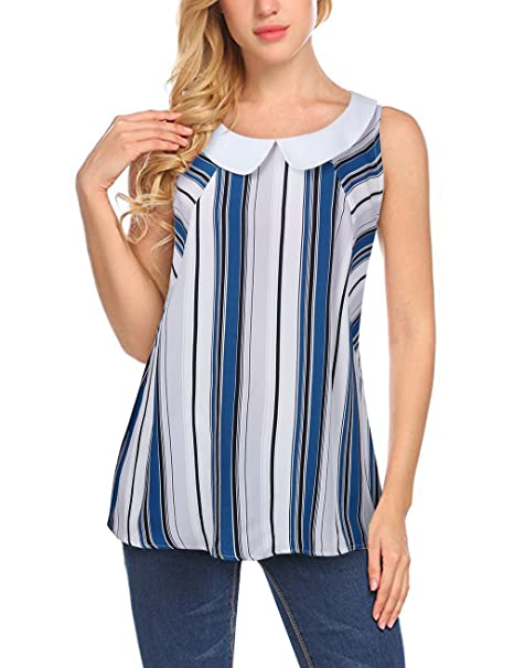 1909b96e631 Faddare Sleeveless Striped Shirts,Breathable Ladies Tank Blouse for Work, Blue XL