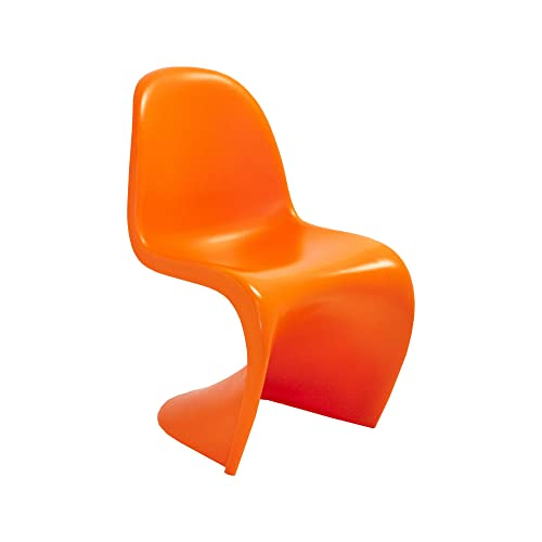 Mod Made Mid Century Modern Molded Plastic S-Shape Chair Dining Chair, Orange