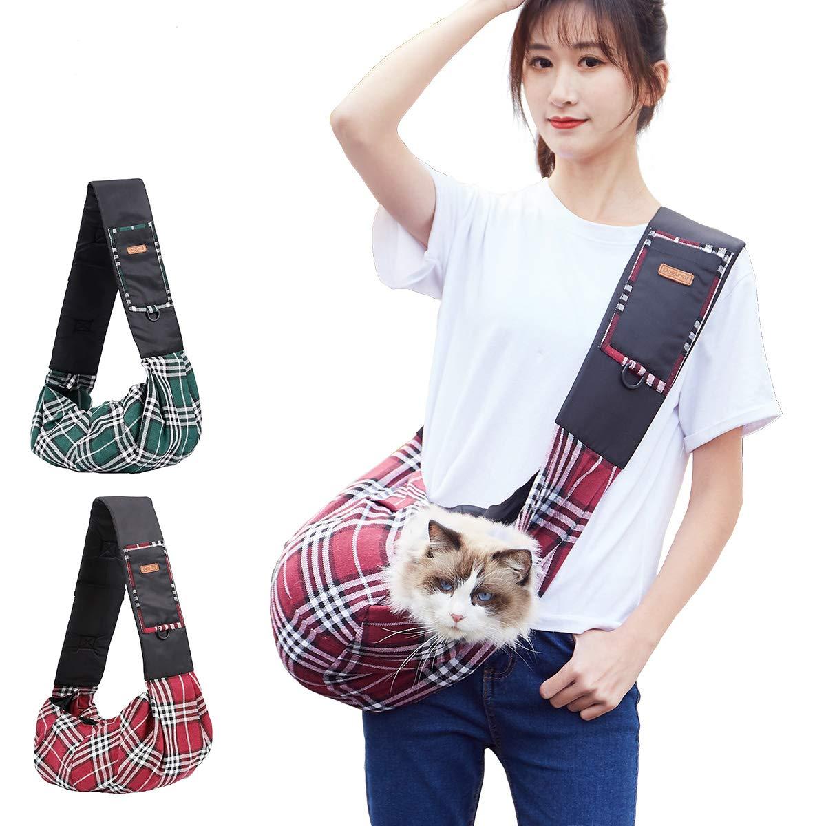 Cani di Piccola Taglia Rosso Chihnuahua Teddy Tineer Pet Sling Bag Classic Checked Design Cane Cat Bag Spalla Pet Carrier per Gattini