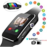 Hizek Smart Watch, Smart Wrist Watch with SIM Card Slot Camera Touch Screen Pedometer Sport Tracker for Android and IOS iPhone Samsung LG (Black)