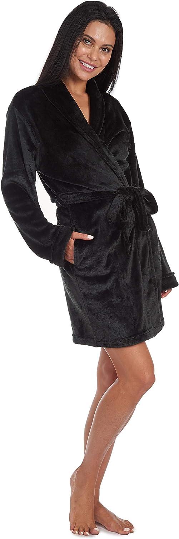 Cherokee womens Luxury Plush Robe Mid-length Bathrobe With Pockets