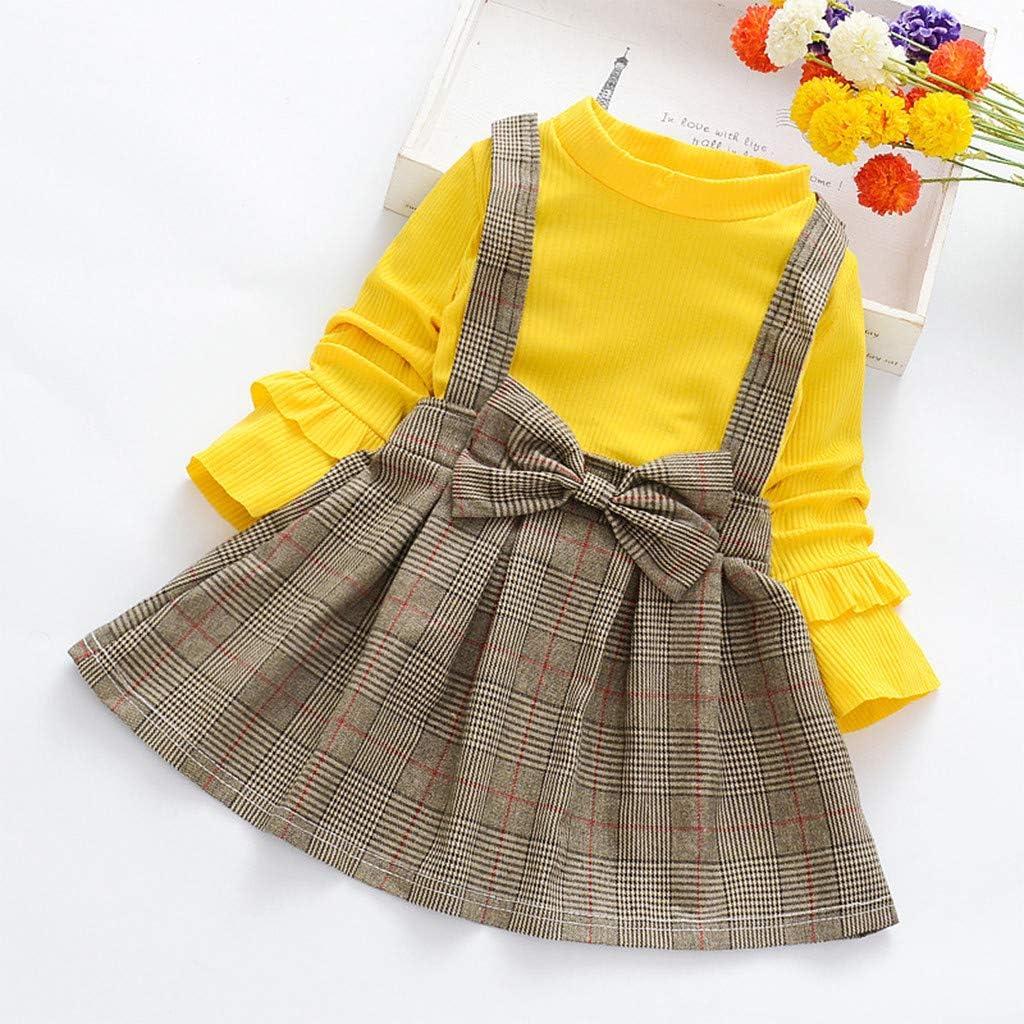 Yuiopmo M/ädchen Prinzessinenkleid Baby Kleid Einfarbig Rundhalsausschnitt Spitze Gitter Prinzessin Rock Modisch Kinder Langarm Strickkleid