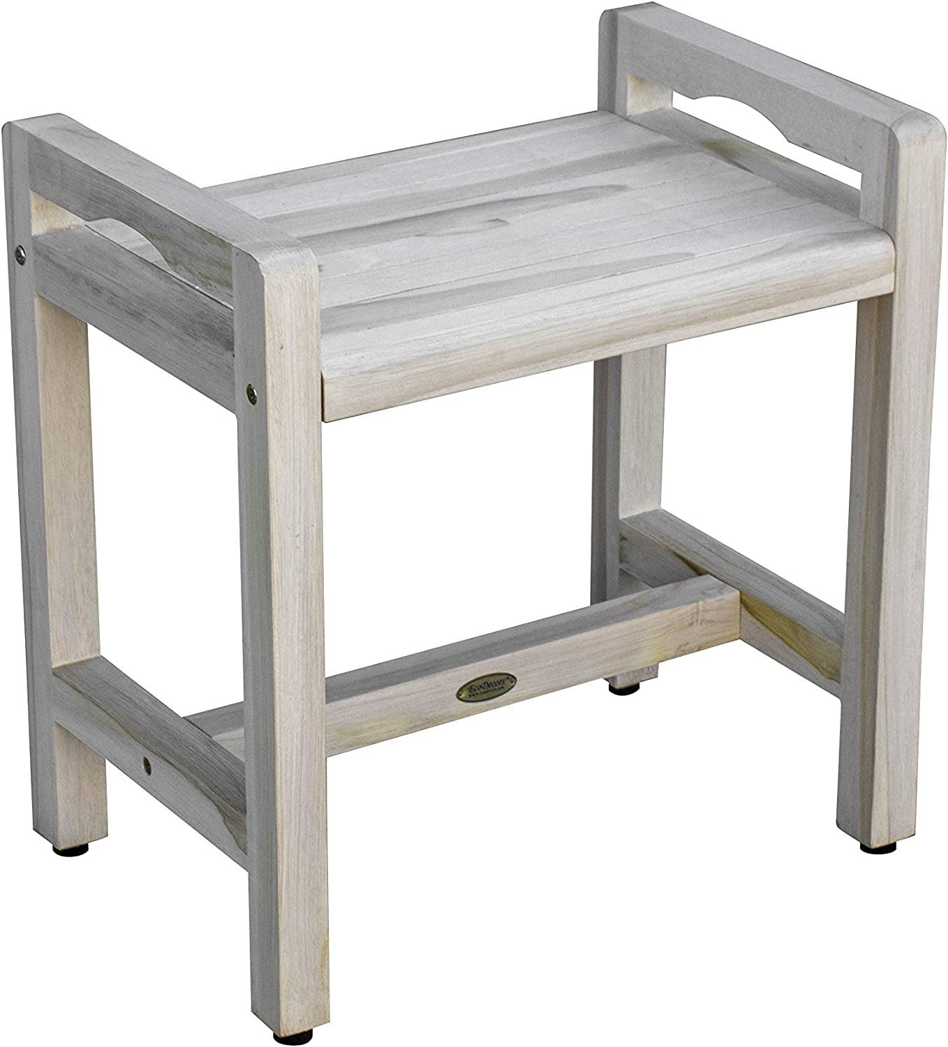 Coastal Vogue Eleganto Teak Shower Stool with LiftAid Arms, 20 inches, Driftwood