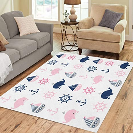 Pinbeam Area Rug Blue Cute Nautical Pattern Whales And Boats Baby Home Decor Floor Rug 2 X 3 Carpet Kitchen Dining