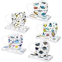 Earleye0 50 Piezas Niños Protección Desechable para Impresión linda 3 Capas Transpirables con Elástico para Los Oídos…