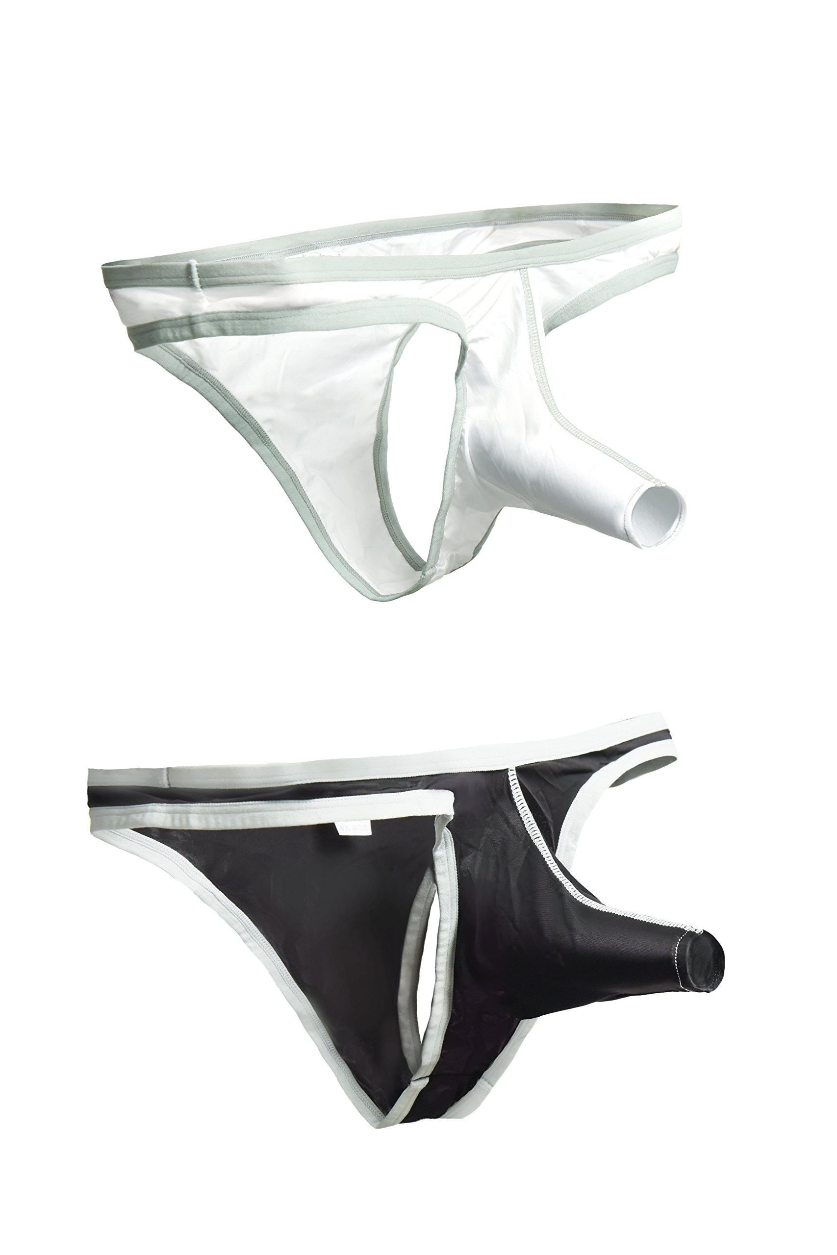 Geoot Men's Sexy G-Strings Breathe T-Back Funny Sexy Underwear Briefs (M, Black and White)