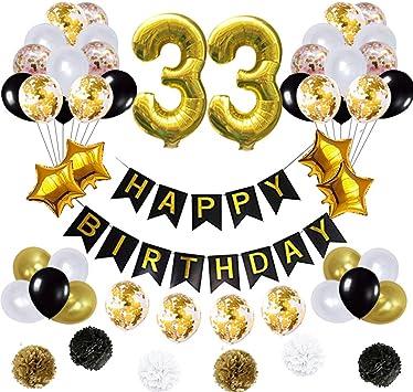 Amazon.com: 33 globos de decoración de cumpleaños, póster de ...
