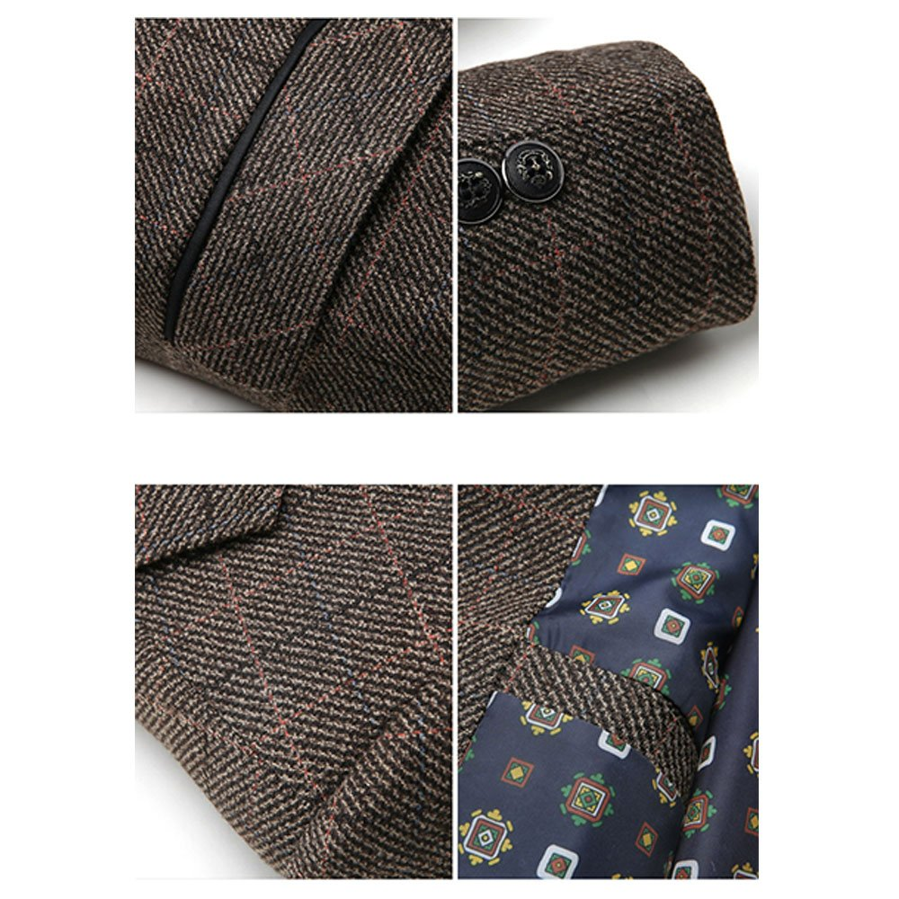 306e37bcf Men's Herringbone Wool Blazer Jacket 2 Button Casual Working Suit Jacket