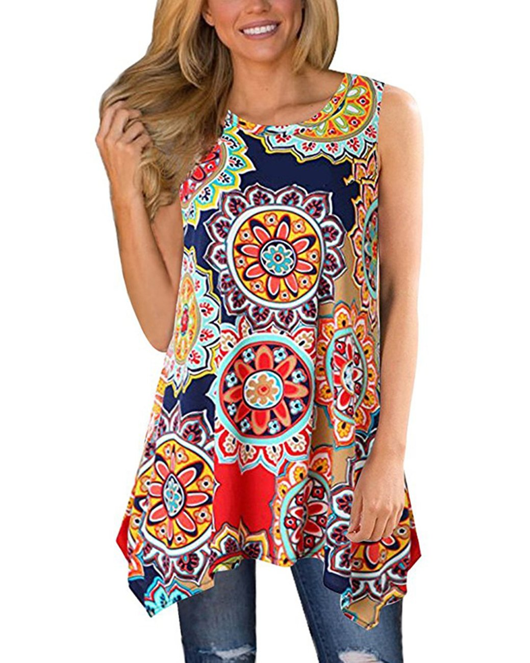 9f88163237235 Women s floral printed loose fit long flowy tunic tops and blouses