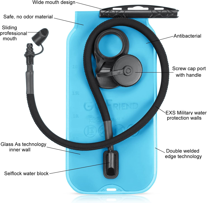 ideale per ciclismo privo di BPA e approvato dalla FDA campeggio 100 oz camminata corsa GoFriend/® escursionismo per idratazione quando si /è fuori Serbatoio dacqua da 3 litri sacca riserva dacqua