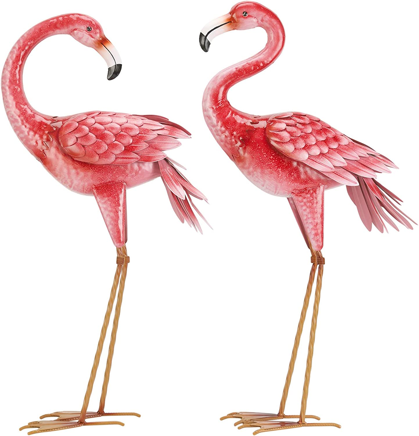 Kircust Flamingo Garden Statues and Sculptures, Metal Birds Yard Art Outdoor Statue, Large Pink Flamigo Lawn Ornaments for Home, Patio, Backyard Decor (2-Pack)