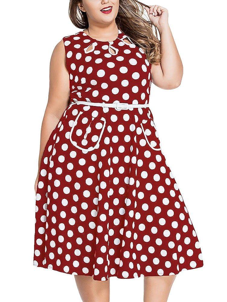 Cfanny Women's Plus Size 1950s Polka Dots Print Vintage Swing Dress