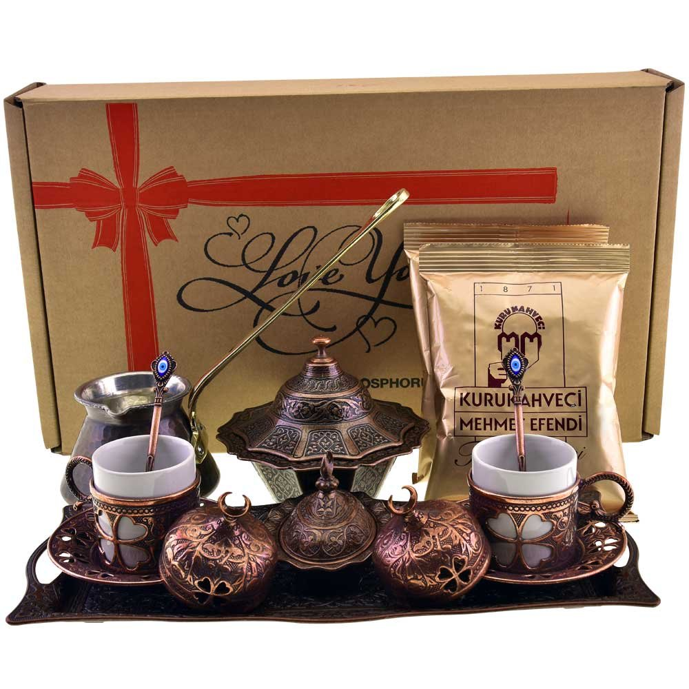 Demmex CopperBull 2018 Turkish Greek Arabic Coffee Set with Pot Cups Tray & Coffee, 16 Pieces (Antique Brown Set)
