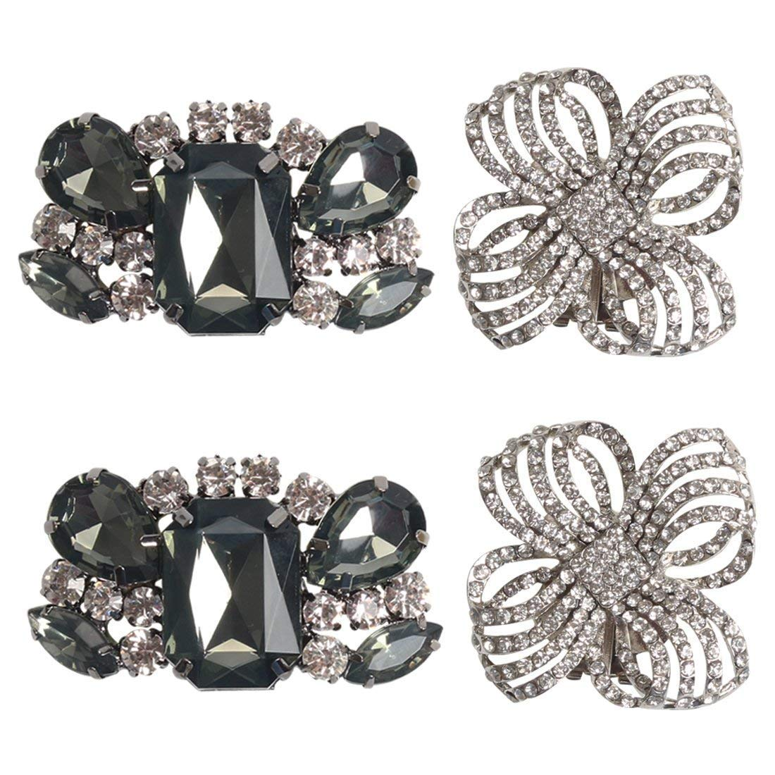 Polkar 2 Pairs Elegant Rhinestone Crystal Metal Shoe Clips Shoe Buckle for Wedding Party Decoration (color A1)