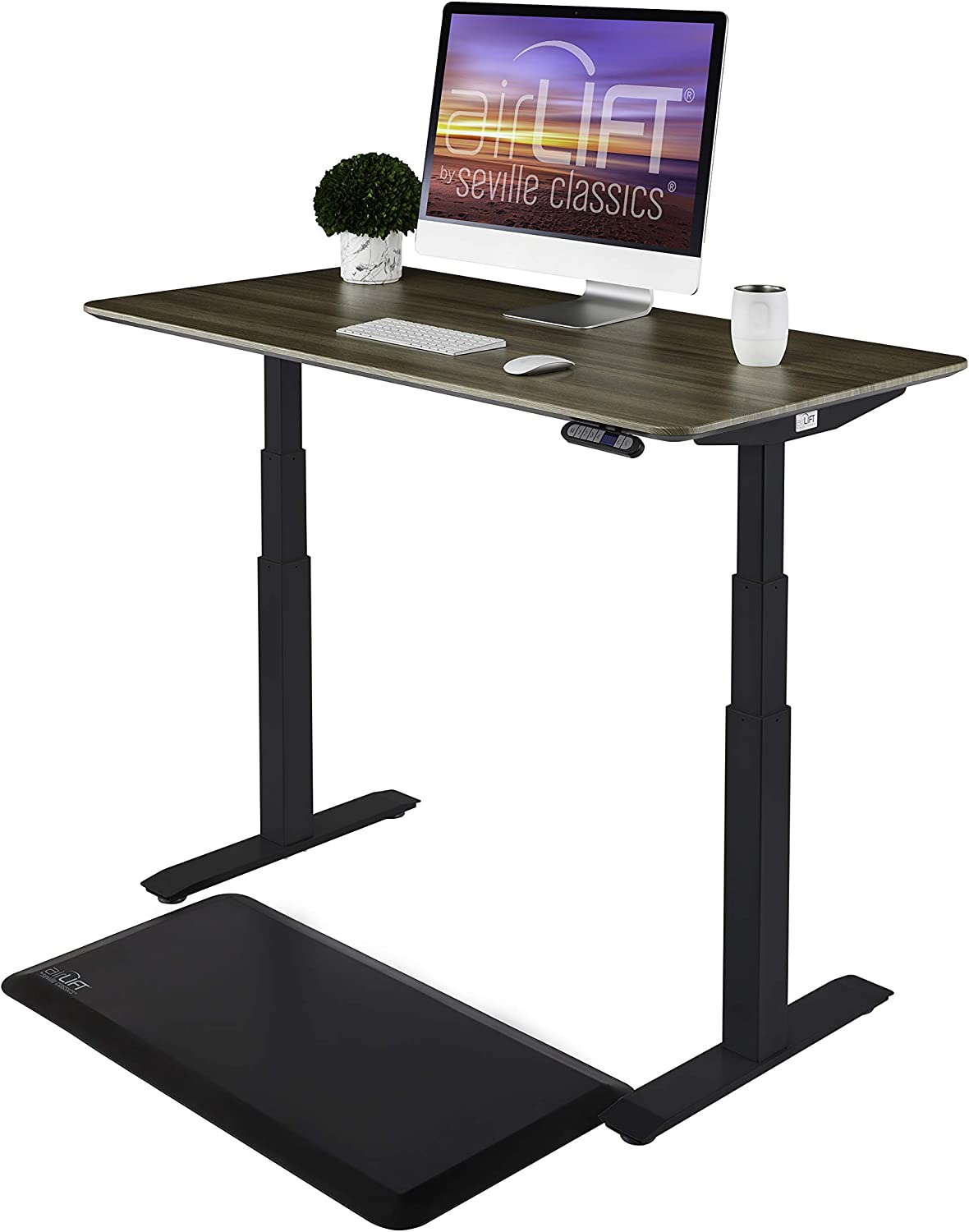 """Seville Classics AIRLIFT Pro S3 54"""" Solid-Top Commercial-Grade Electric Adjustable Standing Desk (51.4"""" Max Height) Table - Black/Ashwood"""