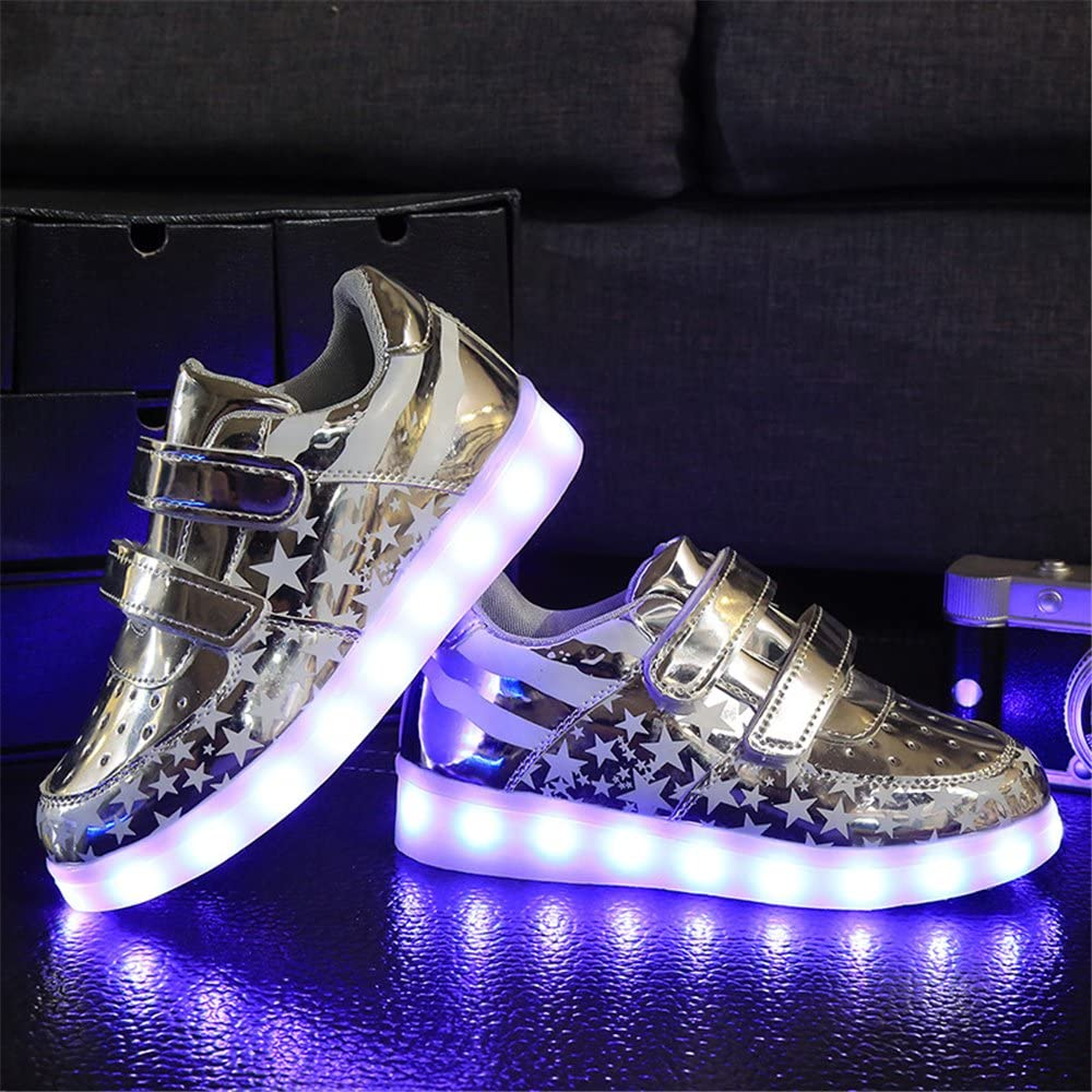 Toddler//Little Kid 24XOmx55S99 Kids Boy and Girls 11 Color Led PU Sneakers Light Up Flashing Skateboard Shoes Christmas