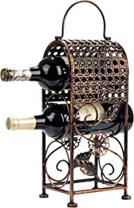 SOPRETY Metal Wine Rack Stand, 3 Bottles 3-Tier Wine Organizer Shelf for Living Room, Bedroom, Kitchen and Office, Copper